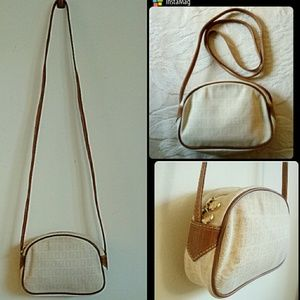 Auth FENDI beige mini crossbody bag